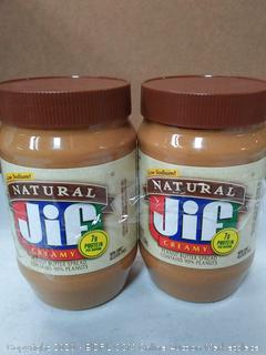 low sodium natural Jif creamy peanut butter (2 jars)