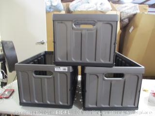 CleverMade- CleverCrates-3 Folding Crates- 82 Liter (missing lids)