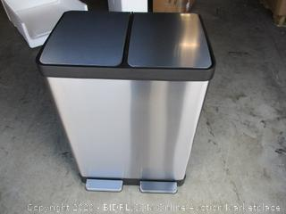 iTouchless- SoftStep- Stainless Steel Dual Compartment Recycler/Trash Can (dent, please see picture)