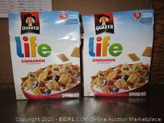 2x Boxes Quaker Life Cinnamon Cereal