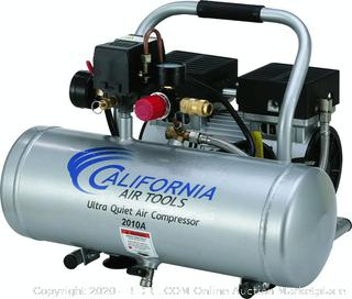California Air Tools 2010A Ultra Quiet and Oil-Free 1.0 HP 2.0-Gallon Aluminum Tank Air Compressor,Silver (Powers On)(Retails $167)