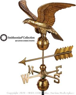 Good Directions Smithsonian Eagle Weathervane - Pure Copper with Golden Leaf Finish (23 inch), Rooftop Ornament, Wind Vane, Roof Décor (Retails $259)