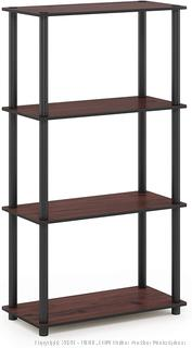 Furinno 4 tier with storage shelves Brown