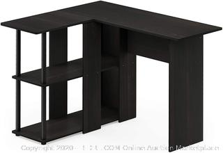 Furinno Abbott L-Shape Desk with Bookshelf, Espresso/Black