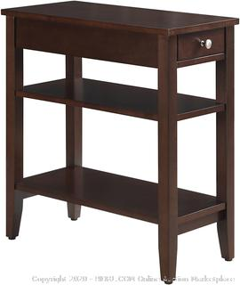 Convenience Concepts American Heritage Three Tier End Table with Drawer, Espresso