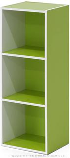 Furinno Pasir 3-Tier Open Shelf Bookcase, White/Green 11003WH/GR (piece is cracked)