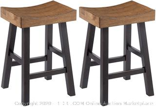 Signature Design by Ashley - Glosco Barstool Set - Counter Height - Vintage Casual - Set of 2 - Brown/Black