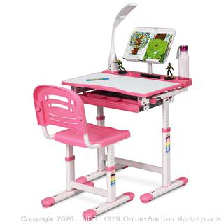 healthy ergo study desk and chair pink