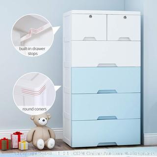 Nafenai 5 drawer shelfs with wheels white and blue (some pieces have cracks)