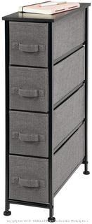 mDesign Narrow Vertical Dresser Storage Tower - Sturdy Metal Frame, Wood Top, Easy Pull Fabric Bins - Organizer Unit