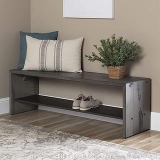Walker Edison Furniture Company AZ58ALPGY Rustic Solid Wood Entryway Dining Bench, 58 Inch, Grey