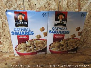 Quaker Oatmeal Squares Cinnamon Cereal, 2 Boxes