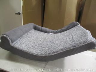 "FurHaven- Faux Fur & Suede Deluxe Chaise Lounge Bed- Gray ( 35"" x 44"")"