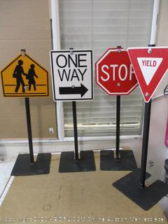 Traffic Signs, Set of 4 (1 Sign Cracked, See Pictures)