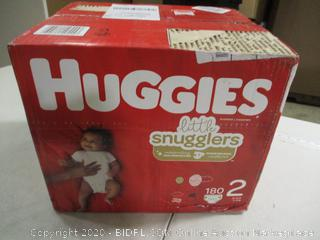 Huggies - Little Snugglers Diapers - Size 2, 180 Count (Sealed)