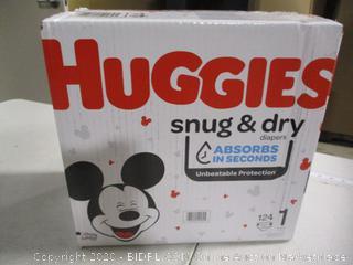 Huggies- Snug & Dry Diapers- Size 1- 124 Ct Box ( Sealed Bags)
