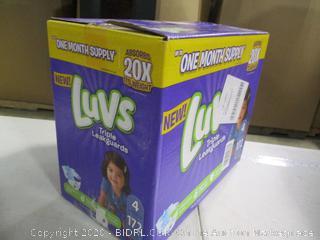 Luvs- Triple Leak Guard Diapers- Sz 4- 172 Ct Box ( Sealed Bags)