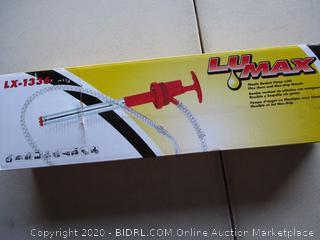 Lumax Red LX-1336 Plastic Bucket Flex Hose and Non-Drip Nozzle. 5-6.5 Gallon (20-25 L) Self-Priming, Push-Down Action Pump