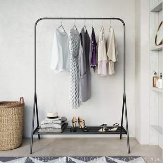 Nathan James Tia Metal Freestanding Clothing Garment Closet Entryway with Hanging Rod and Bottom Shelf or Shoe Storage Rack, Black