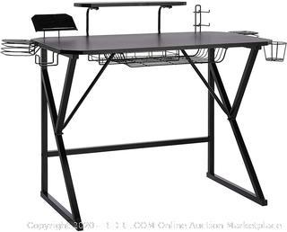 AmazonBasics Gaming Computer Desk with Storage for Controller, Headphone & Speaker - Black
