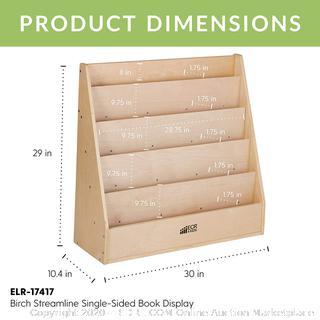 Furniture Wood Book Shelf Organizer for Kids ECR4Kids Birch Single