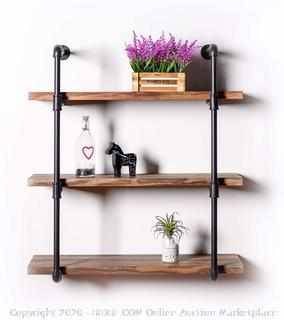 FORNY 3Tier Wall Mounted Industrial Pipe Shelves, Wall Shelf Unit Bookshelf Included Planks, Wall Shelves for Bedroom Bathroom Kitchen