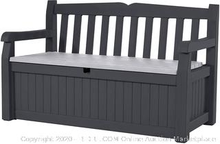 Keter Eden 70 Gallon Storage Bench Deck Box for Patio Decor and Outdoor Seating, Grey (on rack C5)