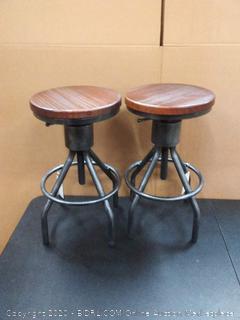 DIY bar stools black and brown (on floor)