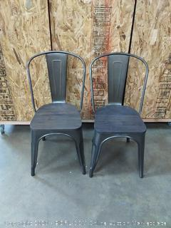 metal dining chair with wood seat 2 count