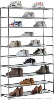 YOUDENOVA 10 Tier Tall Shoe Rack, 50 Pair Shoe Rack Organizer, Shoe Storage Cabinet, Non-Woven Fabric & Metal