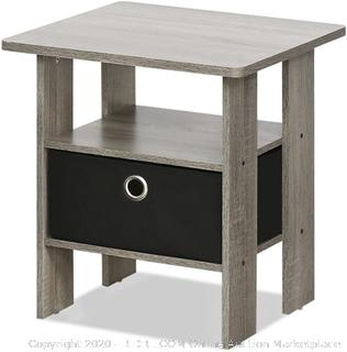 FURINNO Andrey End Table Nightstand with Bin Drawer, 2 tables, French Oak Grey