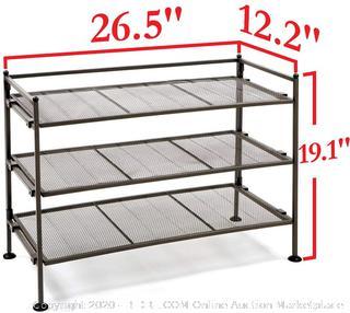 Seville Classics SHE15909 3-Tier Mesh Utility Shoe Rack Organizer, Perfect for Bedroom, Closet, Entryway, Dorm Room, Espresso