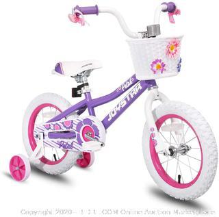 JOYSTAR 12 Inch Kids Bike for 2 3 4 Years Girls with Training Wheels, Kids Bicycle with Basket & Bike Streamers, Purple