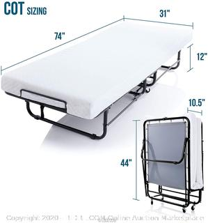 LUCID Rollaway Folding Guest Bed with 4 Inch Memory Foam Mattress - Rolling Cot - Easy Storage - Cot(Retails $219)