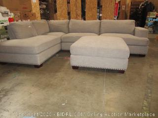 Light Gray Fabric Sectional Couch Sofa