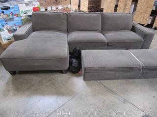 Dark Gray Fabric Sectional Couch Sofa