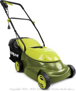 Sun Joe MJ401E- Pro 14-Inch 12 Amp Electric Lawn Mower with Grass Bag, Green(powers on)(Retails $125)(cubby 2)