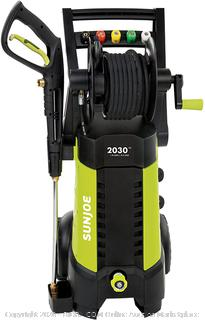 Sun Joe SPX3001 2030 PSI 1.76 GPM 14.5 AMP Electric Pressure Washer with Hose Reel, Green (powers on)(Retails $229)(cubby 2)