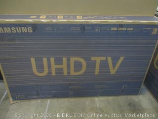 Samsung UHD TV   Cracked Screen  Powers on See Pictures