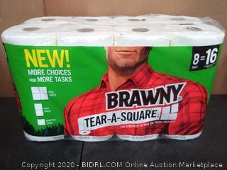 Brawny Tear-A-Square Paper Towels, Quarter Size Sheets, 16 Count