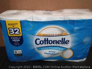 Cottonelle Ultra cleancare active cleaning rippled toilet paper 6 family Mega rolls