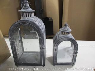 JHY DESIGN Set of 2 Antique Grey Decorative Lanterns