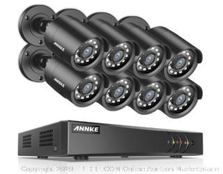 ANNKE Security Camera System 1080P Lite H.264+ 8CH Surveillance DVR and (8) 1080P HD Weatherproof Camera, Easy Remote View, Smart Playback, NO Hard Drive ($179 Retail)
