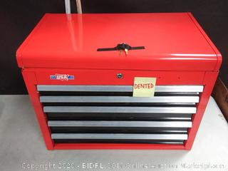CRAFTSMAN 4-Drawer Steel Tool Chest Red with integrated power strip with six outlets and two USB ports (online $249)