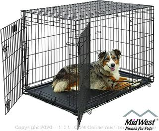 Large Dog Crate MidWest Life Stages Double Door Folding Metal Dog Crate Divider Panel, Floor Protecting Feet, Leak-Proof Dog Tray 42L x 28W x 31H Inches, Large Dog Breed
