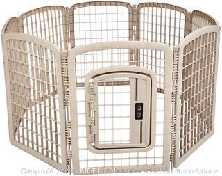 8-Panel Plastic Pet Pen Fence Enclosure With Gate - 64 x 64 x 34 Inches, Beige