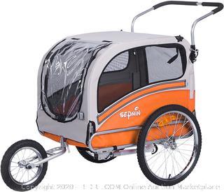 Sepnine Pet Dog Bike Trailer, Orange/Grey (Retails $149)