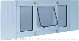 "Ideal Pet Products Aluminum Sash Window Pet Door, Adjustable Width 33"" to 38"", Cat Flap, 6.25"" x 6.25"" Flap Size, White(Retails $106)"