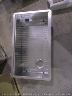 Kraus Sink, Grid, drain assmbly  and  Multipurpose Over Sink Roll Up Dish Drying Rack see pictgures