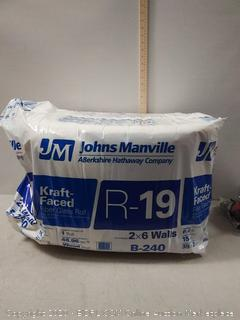 Johns Manville R 19 48.96-sq ft Single Faced Fiberglass Roll Insulation with with Sound Barrier (15-in W x 39.17-ft L) online $35